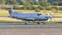 LX-FDI @ EGFH - Visiting PC-12 operated by Jetfly Aviation. - by Roger Winser