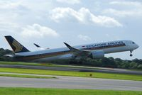 9V-SMD @ EGCC - Singapore Airline A350 on take off from Manchester - by m0sjv