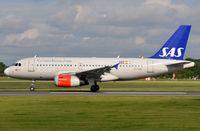 OY-KBT @ EGCC - Departure of SAS A319 - by FerryPNL