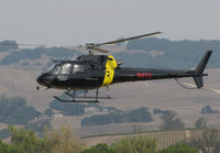 N4TV @ O69 - KNBC News 4 (Los Angeles, CA) 1996 Eurocopter AS-350B-2 in new black color scheme landing at Petaluma Municipal Airport, CA temporary home base after flight to cover the devastating October 2017 Northern California wildfires - by Steve Nation