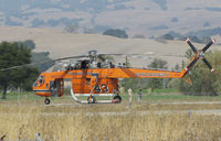 N247AC @ O69 - Erickson Air Crane (Central Point, OR) 1968 Sikorsky S-64E TANKER 743 resting at Petaluma Municipal Airport, CA temporary home base between water drops on the devastating October 2017 Northern California wildfires - by Steve Nation