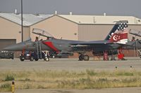 05-0005 @ KBOI - Parked on the Idaho ANG ramp. 428th Fighter Sq. Buccaneers, Royal Singapore Air Force - by Gerald Howard