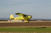 G-SAGE - Landing at grass air strip at East Soar, the former RAF Bolt Head in Devon, UK. - by Steve Baggs