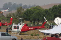 N216GH @ O69 - Rotorcraft Support (Van Nuys, CA) 1969 Bell 205A-1 (UH-1H) water dropping helicopter readies for take-off @ Petaluma Municipal Airport, CA temporary home base in support of efforts to control devastating Oct 2017 Northern California wildfires - by Steve Nation