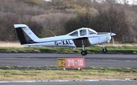 G-XALT @ EGFH - Tomahawk operated by Cambrian Flying Club departing Runway 28.