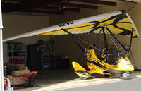 N899HT @ SZP - 2016 Evolution Aircraft REVO RIVAL X, weight-shift control production LSA, Rotax 912ULS 100 Hp pusher, camera mounts-equipped. In its hangar. - by Doug Robertson
