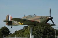 BAPC267 @ EGSU - Hawker Hurricane replica at the Gates representing Duxford based squadron - by Eric.Fishwick