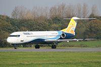 9A-BTD @ LFRB - Fokker 100, Ready to take off rwy 25L, Brest-Bretagne airport (LFRB-BES) - by Yves-Q