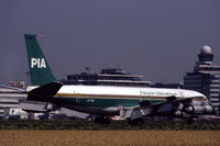 AP-AXG @ EHAM - Pakistan International Airways Boeing 707-340C landing at Schiphol airport, the Netherlands, 1982 - by Van Propeller