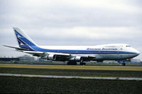 LV-MLP @ EHAM - Aerolineas Argentinas Boeing 747-287B landing at Schiphol airport, the Netherlands, 1987 - by Van Propeller