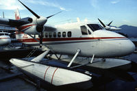 C-GJAW @ CYHC - Air BC De Havilland Canada DHC-6-200 Twin-Otter moored at the Vancouver Harbour Water Airport, BC, Canada, 1987 - by Van Propeller