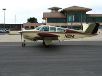 N11114 @ KPRB - 1968 Beech V35A taxiing past General Aviation Terminal @ Paso Robles Municipal Airport, CA - by Steve Nation