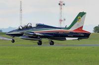 MM55058 @ LFOA - Italian Air Force Aermacchi MB-339PAN, N°3 of Frecce Tricolori Aerobatic Team 2016, Landing rwy 24, Avord Air Base 702 (LFOA) Open day 2016 - by Yves-Q