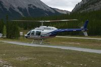 C-GFQZ @ CCR5 - Icefield Helicopter B206 departing for a flightseeing tour over the rockies. - by FerryPNL
