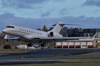 9H-AMF @ EGLF - Hyperion Aviation BD700 9H-AMF taking off on 24 at Farnborough - FAB - by dave226688