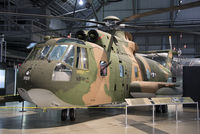 67-14709 @ KFFO - Converted from the Sikorsky CH-3, the Jolly Green Giant was intended for combat search and rescue over Southeast Asia.  It had a retractable fuel probe and external tanks giving it high endurance, as well as armor protection and defensive armament.