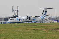 G-ECOD @ EGFF - Dash8, Flybe call sign Jersey 6XF, seen taxxing out en-route toGlasgow - by Derek Flewin