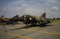 BA01 @ EBST - BAF 2 Sqn Mirage 5BR BR01 at EBST (eighties) - by Guy Vandersteen