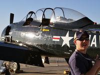 N243DM @ LSV - My son John at Aviation Nation 2007. N243DM Trojan in background.