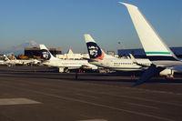 N519AS @ KSEA - N Gates, Alaska Airlines' homebase at SEA with Mount Rainier in the background.