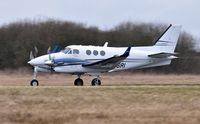 M-TSRI @ EGFH - Visiting King Air operated by Timpson Ltd departing Runway 22. - by Roger Winser