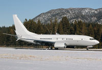 N1TS @ KTVL - 2010 Boeing 737-7JY BBJ landing at South Lake Tahoe Airport, CA. Yes, it's pulling a 180 on the runway to back taxi because we were using the only taxiway at KTVL :) - by Chris Leipelt
