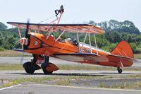N74189 @ EGFH - Aerosuperbatics Kaydet biplane (2). - by Roger Winser