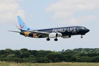 OO-JAF @ LFRB - Boeing 737-8K5, On final rwy 25L, Brest-Bretagne airport (LFRB-BES) - by Yves-Q