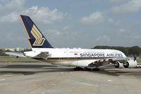 9V-SKJ @ WSSS - Morning pushback as SQ830 bound for Shanghai.