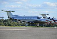 G-FLXI @ EGTF - Pilatus PC12/47E at Fairoaks. Ex M-TOMS - by moxy