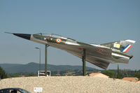 233 @ N.A. - Dassault Mirage IIIB-1 of the European Fighter Aircraft Museum at Montélimar, France. Mounted on poles on the roundabout Rond-point de Villepré. Flew previously with the CEV - by Van Propeller