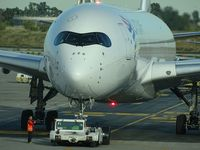A7-AMA @ LEBL - Qatar Airways (LATAM Airlines Brasil) QR146 pushback to Doha