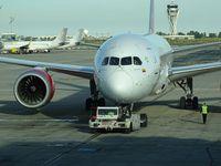 N782AV @ LEBL - Avianca AV19 pushback and departure to Bogota