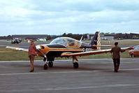 G-BDOG @ EGLF - G-BDOG   Scottish Aviation SA.120-200 Bulldog [BH200/381] Farnborough~G 10/09/1976. From a slide.
