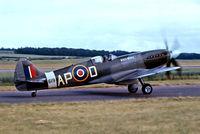 G-ALGT @ EGSU - G-ALGT   (RM619) Supermarine Spitfire F.XIVc [6S/432263] Duxford~G 28/06/1975. From a slide.