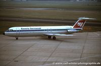 D-ALFA @ EDDL - BAC 111-528 SP - BV Bavaria Germanair 'Jakob Fugger' - 234 - D-ALFA - 1977 - DUS - by Ralf Winter