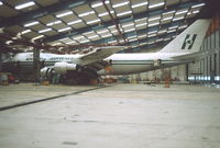 LN-AEO @ CPH - Copenhagen 6.4.1983 inside SAS Hangar.Lease return. - by leo larsen