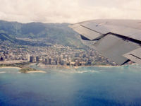 A20-624 @ KHNL - Window View of Honolulu, shortly after take-off from Hickam/Honolulu International Airport (KHNL) on 02Sep1992. Photo taken from RAAF Boeing 707-338C(KC) A20-624 Cn 19624, departing on a 4.4 hour trip to San Francisco KSFO. - by Walnaus47