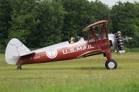 F-AZMZ @ LFFQ - Boing Stearman E-75, Taxiing, La Ferté-Alais Airfield (LFFQ) Air show 2015 - by Yves-Q