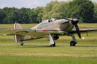 F-AZXR @ LFFQ - Hawker Hurricane Mk.IIa, Taxiing, La Ferté-Alais airfield (LFFQ) Airshow 2015 - by Yves-Q