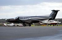 N381SL @ EGTF - Pilatus PC-12/45 departing Fairoaks.