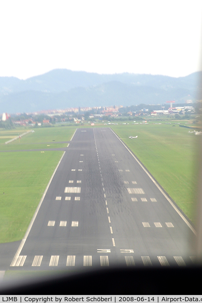 Maribor Airport, Maribor Slovenia (LJMB) - Low pass over Maribor Airport. Cessna 525 CitationJet OE-FCW