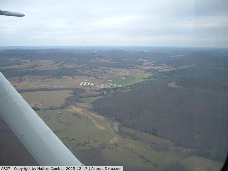 Lollars Creek Farm Airport (AR27) - Not sure if its a runway anymore, but you can tell there used to be one when you fly over it. I circled it in green because I took the pic. with the hill in the way, and its grass, like the field, so its kinda hard to see.