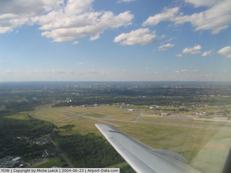 Ottawa Macdonald-Cartier International Airport (Macdonald-Cartier International Airport), Ottawa, Ontario Canada (YOW) - Canada's Capital city airport, taken from Jetsgo Fokker 100 (C-GKZA)