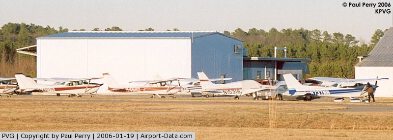Hampton Roads Executive Airport (PVG) - Looking at the admin/terminal from the end of RWY 2