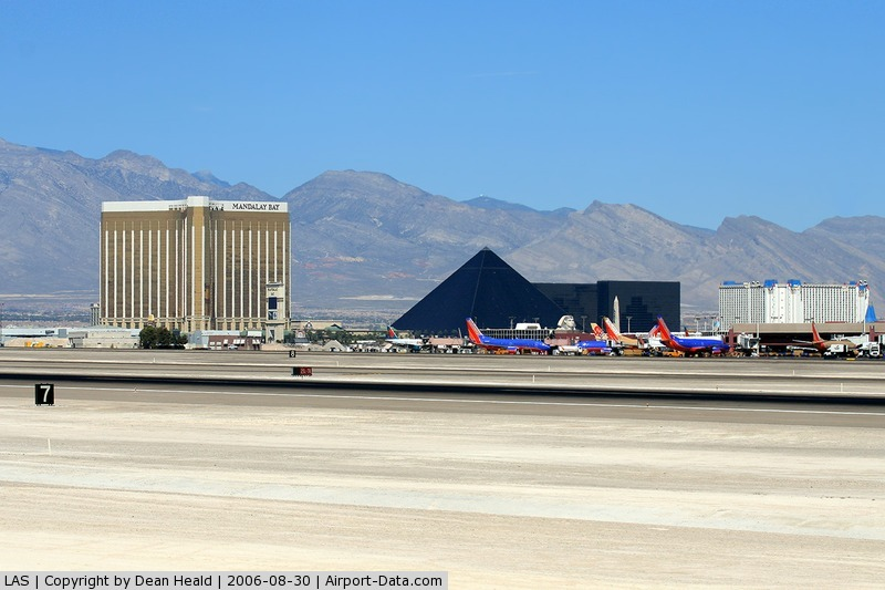 Mc Carran International Airport (LAS) - Looking northwest from the Sunset Viewing Area at McCarran Int'l Airport.