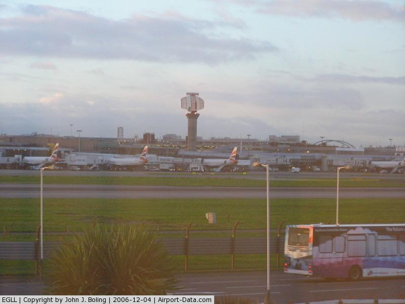 London Heathrow Airport, London, England United Kingdom (EGLL) - Terminal 1 and runway 27R at Heathrow.