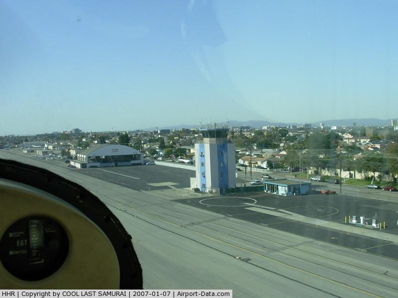 Jack Northrop Field/hawthorne Municipal Airport (HHR) - HHR TWR, a view from an airplane taking off Rwy25