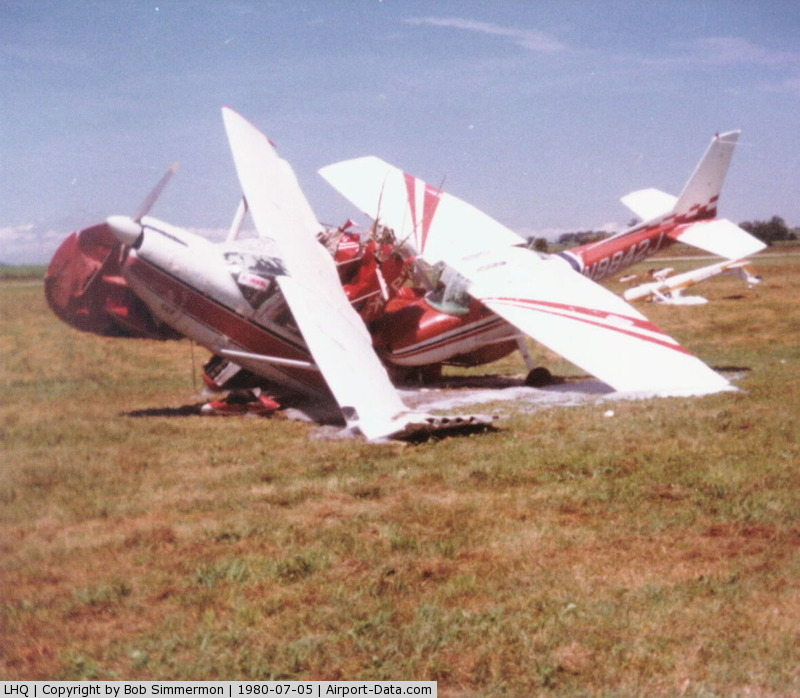 Fairfield County Airport (LHQ) - Tornado damage. Ball of 3 planes - Stinson, 182 & 150