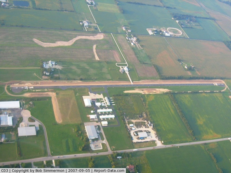 Nappanee Municipal Airport (C03) - Looking south from 3500'